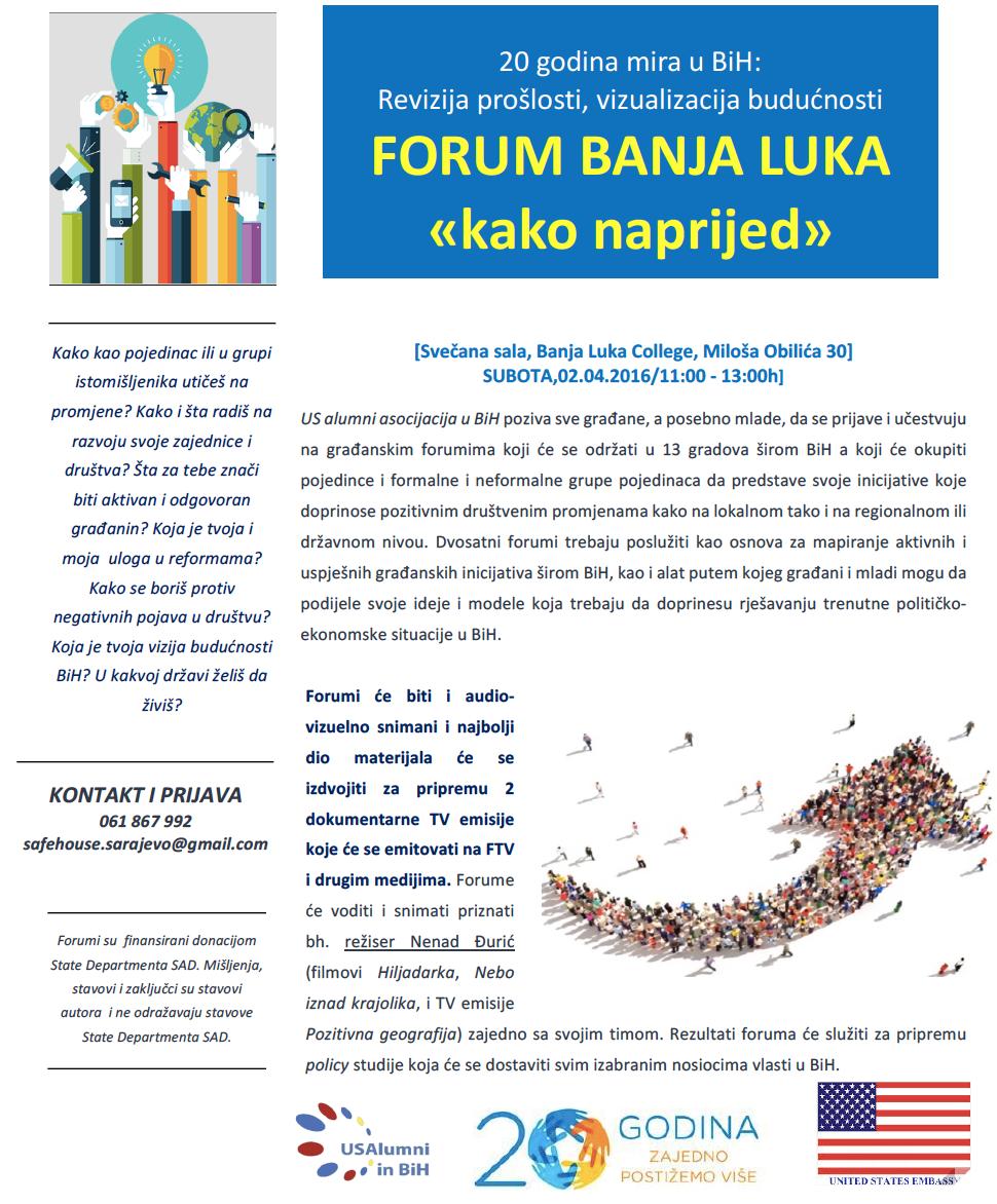 20 godina mira u BiH: Revizija prošlosti, vizualizacija budućnosti FORUM BANJA LUKA «kako naprijed»
